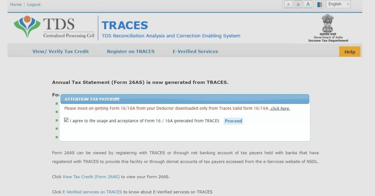 TRACES website appears